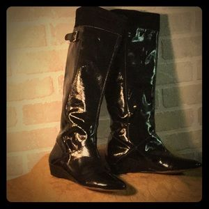 Via Spiga, Tall Black Patent Leather boots.